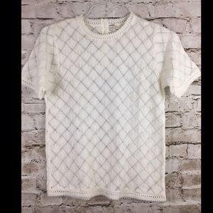 Vintage Lace Blouse French Pom Pom Short Sleeve